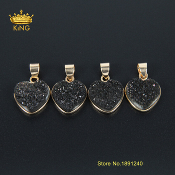 Heart Quartz Druzy Pendants Gold Pendant Necklace Black Color Natural Ag ate Geode Druzy Pendant Beads XFX042