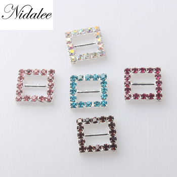 15mm Rectangle Shape Buckles,Eco-friendly Crystal Rhinestone Buckles For Wedding Invitations Chair Sash