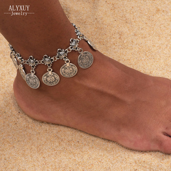 Fashion jewelry vintage silver color coin drop anklet gift for women girl AN63