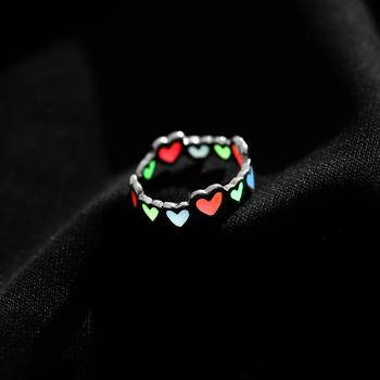 Glowing Colorful Ring Glow In The Dark Hollow Heart love Open Ring Women Cupronickel Rings Blue Original Luminous Ring Girl