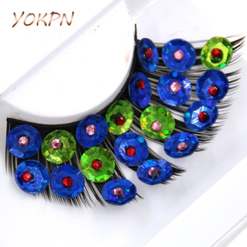 YOKPN Blue Green Crisscross False Eyelashes Handmade Sequins Exaggerated Thick Eye Lashes Latin Dance Show Makeup Fake Eyelashes