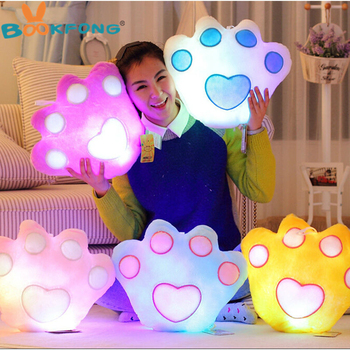 BOOKFONG Kawaii Panda Paw Style Luminous Pillow Color Change Led Light Pillow Soft Stuffed Plush Pillow Toy 38cm*35cm