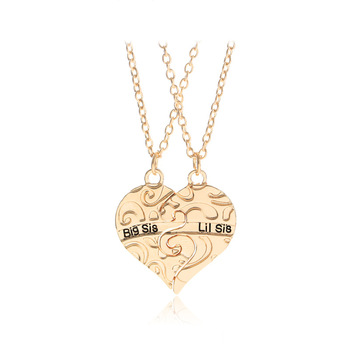 Big Sis Lit Sis Big Sister Little Sister Pendants Necklaces 2 Sisters Carved Broken Heart Necklace Friend Forever Gifts